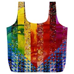 Conundrum I, Abstract Rainbow Woman Goddess  Reusable Bag (XL) by DianeClancy