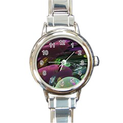 Creation Of The Rainbow Galaxy, Abstract Round Italian Charm Watch by DianeClancy