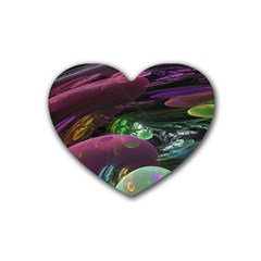 Creation Of The Rainbow Galaxy, Abstract Drink Coasters 4 Pack (heart)  by DianeClancy