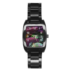 Creation Of The Rainbow Galaxy, Abstract Stainless Steel Barrel Watch by DianeClancy