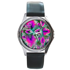 Crystal Flower Garden, Abstract Teal Violet Round Leather Watch (silver Rim) by DianeClancy