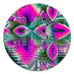 Crystal Flower Garden, Abstract Teal Violet Magnet 5  (round) by DianeClancy