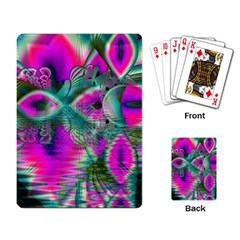 Crystal Flower Garden, Abstract Teal Violet Playing Cards Single Design by DianeClancy