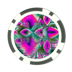 Crystal Flower Garden, Abstract Teal Violet Poker Chip by DianeClancy