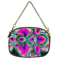 Crystal Flower Garden, Abstract Teal Violet Chain Purse (one Side) by DianeClancy