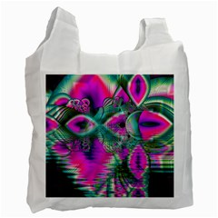 Crystal Flower Garden, Abstract Teal Violet White Reusable Bag (two Sides) by DianeClancy