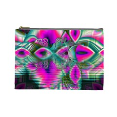 Crystal Flower Garden, Abstract Teal Violet Cosmetic Bag (large) by DianeClancy