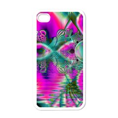 Crystal Flower Garden, Abstract Teal Violet Apple Iphone 4 Case (white) by DianeClancy