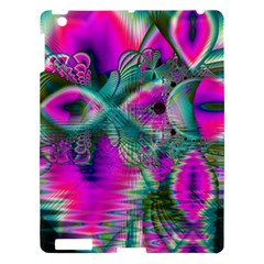 Crystal Flower Garden, Abstract Teal Violet Apple Ipad 3/4 Hardshell Case by DianeClancy
