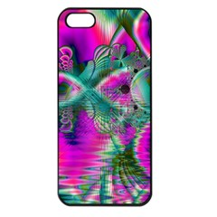 Crystal Flower Garden, Abstract Teal Violet Apple Iphone 5 Seamless Case (black) by DianeClancy
