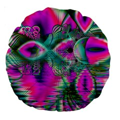 Crystal Flower Garden, Abstract Teal Violet 18  Premium Round Cushion  by DianeClancy