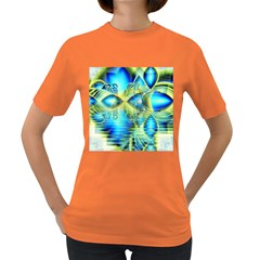 Crystal Lime Turquoise Heart Of Love, Abstract Women s T Shirt (colored)