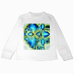 Crystal Lime Turquoise Heart Of Love, Abstract Kids Long Sleeve T Shirt