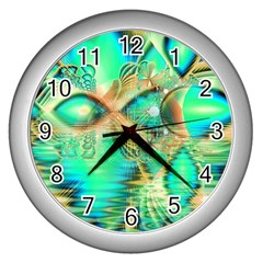 Golden Teal Peacock, Abstract Copper Crystal Wall Clock (silver) by DianeClancy