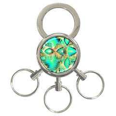 Golden Teal Peacock, Abstract Copper Crystal 3 Ring Key Chain by DianeClancy