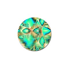 Golden Teal Peacock, Abstract Copper Crystal Golf Ball Marker 10 Pack by DianeClancy