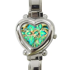 Golden Teal Peacock, Abstract Copper Crystal Heart Italian Charm Watch  by DianeClancy