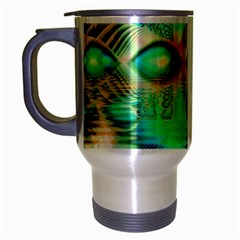 Golden Teal Peacock, Abstract Copper Crystal Travel Mug (silver Gray) by DianeClancy