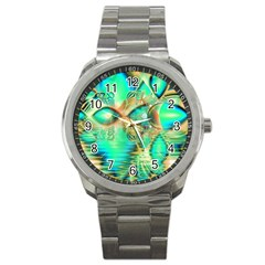 Golden Teal Peacock, Abstract Copper Crystal Sport Metal Watch by DianeClancy