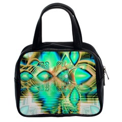 Golden Teal Peacock, Abstract Copper Crystal Classic Handbag (two Sides) by DianeClancy
