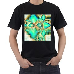 Golden Teal Peacock, Abstract Copper Crystal Men s T Shirt (black) by DianeClancy