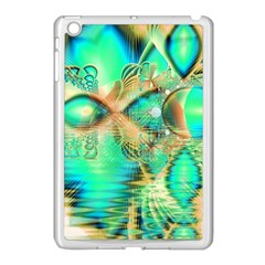 Golden Teal Peacock, Abstract Copper Crystal Apple Ipad Mini Case (white) by DianeClancy