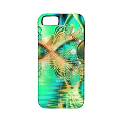 Golden Teal Peacock, Abstract Copper Crystal Apple Iphone 5 Classic Hardshell Case (pc+silicone) by DianeClancy
