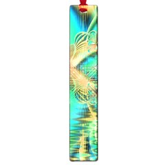 Golden Teal Peacock, Abstract Copper Crystal Large Bookmark by DianeClancy