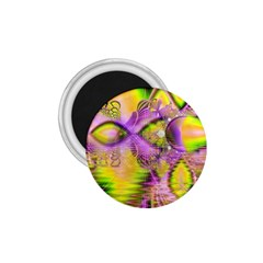 Golden Violet Crystal Heart Of Fire, Abstract 1 75  Button Magnet by DianeClancy