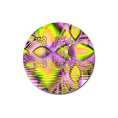 Golden Violet Crystal Heart Of Fire, Abstract Magnet 3  (round) by DianeClancy