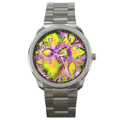 Golden Violet Crystal Heart Of Fire, Abstract Sport Metal Watch by DianeClancy