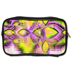 Golden Violet Crystal Heart Of Fire, Abstract Travel Toiletry Bag (two Sides) by DianeClancy
