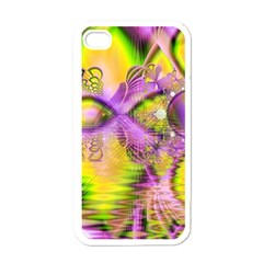 Golden Violet Crystal Heart Of Fire, Abstract Apple Iphone 4 Case (white) by DianeClancy