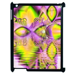 Golden Violet Crystal Heart Of Fire, Abstract Apple Ipad 2 Case (black) by DianeClancy