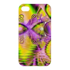 Golden Violet Crystal Heart Of Fire, Abstract Apple Iphone 4/4s Hardshell Case by DianeClancy