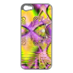 Golden Violet Crystal Heart Of Fire, Abstract Apple Iphone 5 Case (silver) by DianeClancy