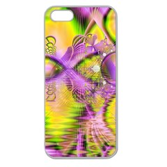 Golden Violet Crystal Heart Of Fire, Abstract Apple Seamless Iphone 5 Case (clear) by DianeClancy
