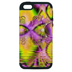 Golden Violet Crystal Heart Of Fire, Abstract Apple Iphone 5 Hardshell Case (pc+silicone) by DianeClancy
