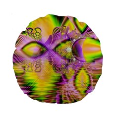 Golden Violet Crystal Heart Of Fire, Abstract 15  Premium Round Cushion  by DianeClancy