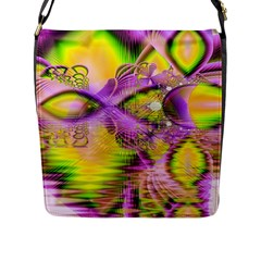 Golden Violet Crystal Heart Of Fire, Abstract Flap Closure Messenger Bag (large) by DianeClancy
