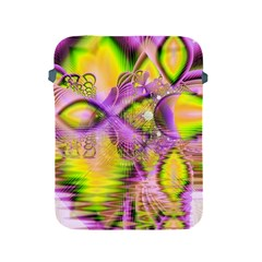 Golden Violet Crystal Heart Of Fire, Abstract Apple Ipad Protective Sleeve by DianeClancy