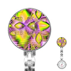 Golden Violet Crystal Heart Of Fire, Abstract Stainless Steel Nurses Watch by DianeClancy