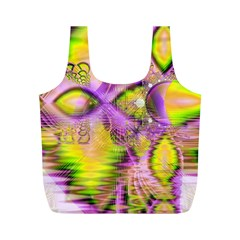 Golden Violet Crystal Heart Of Fire, Abstract Reusable Bag (m) by DianeClancy