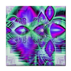 Violet Peacock Feathers, Abstract Crystal Mint Green Ceramic Tile by DianeClancy