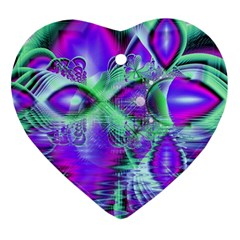 Violet Peacock Feathers, Abstract Crystal Mint Green Heart Ornament by DianeClancy