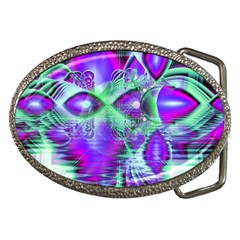 Violet Peacock Feathers, Abstract Crystal Mint Green Belt Buckle (Oval) by DianeClancy