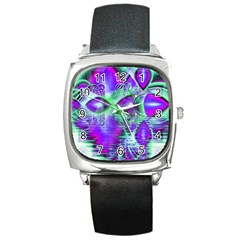 Violet Peacock Feathers, Abstract Crystal Mint Green Square Leather Watch by DianeClancy