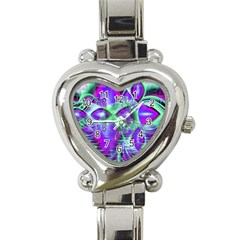 Violet Peacock Feathers, Abstract Crystal Mint Green Heart Italian Charm Watch  by DianeClancy