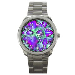 Violet Peacock Feathers, Abstract Crystal Mint Green Sport Metal Watch by DianeClancy