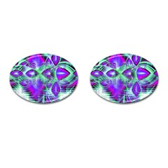Violet Peacock Feathers, Abstract Crystal Mint Green Cufflinks (oval) by DianeClancy
